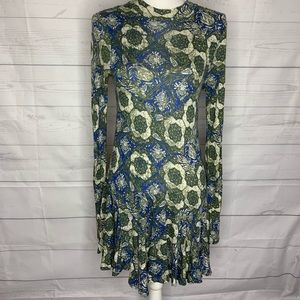 Free People green floral skater dress size medium